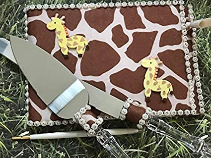 Giraffe Baby Guest Book With Cake Knife And Server Set For Shower 1st Birthday Gift