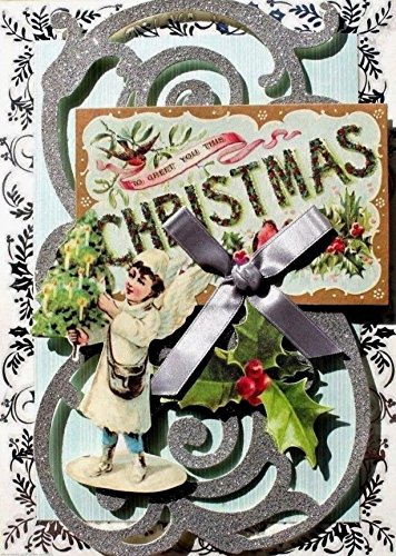 - Anna Griffin Single(1) Glitter Ribbon Embellished 3D Christmas Card ~ Victorian Angel Postcard