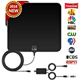 TV Antenna HD Digital,Skywire TV Antenna with 80 Miles Range Support 4K 1080P, Indoor Digital HDTV Antenna & Amplifier Signal Booster USB Power Supply-16.4ft Coax Cable