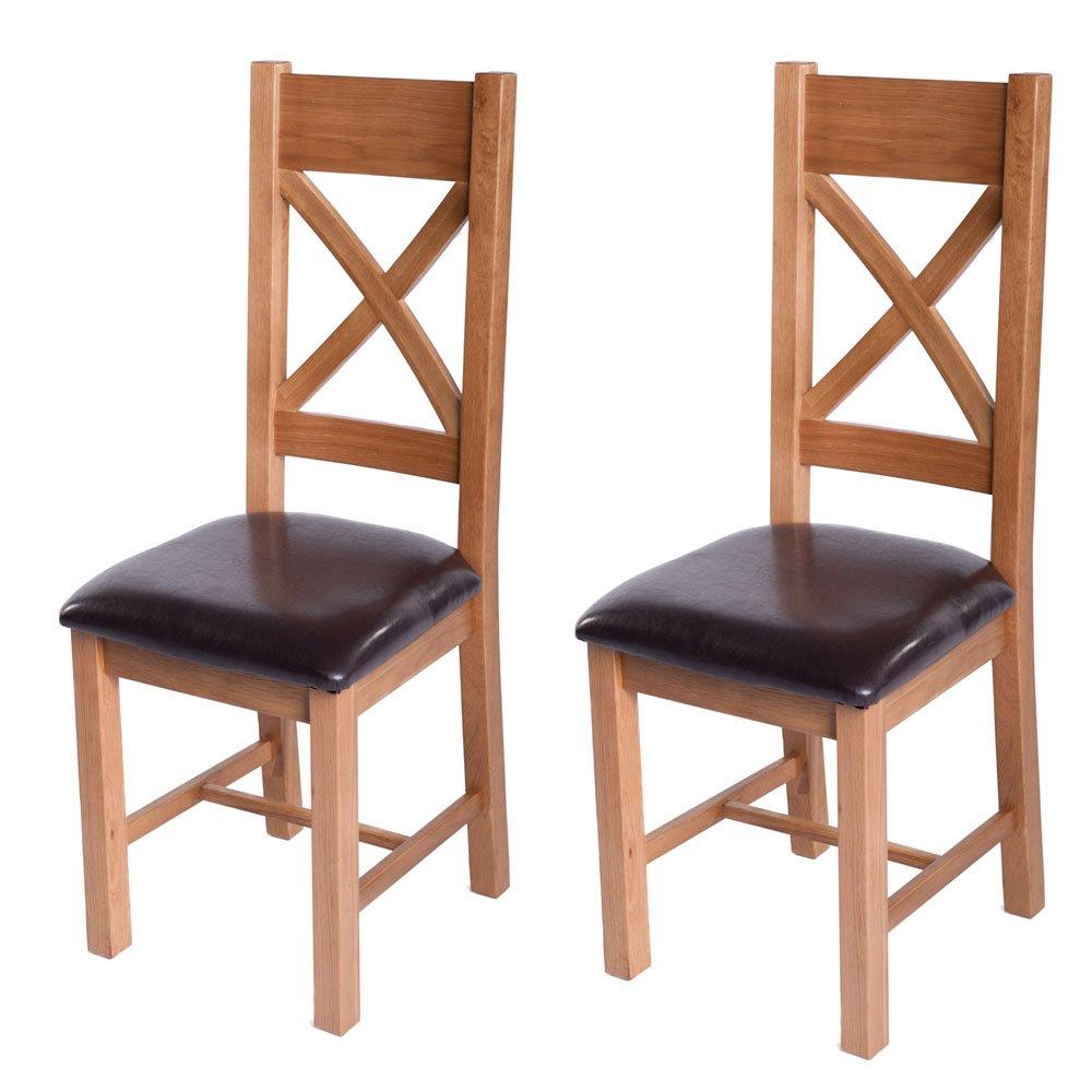 Sussex Eiche rustikal 2Cross Back Leder Esstisch Stühlen