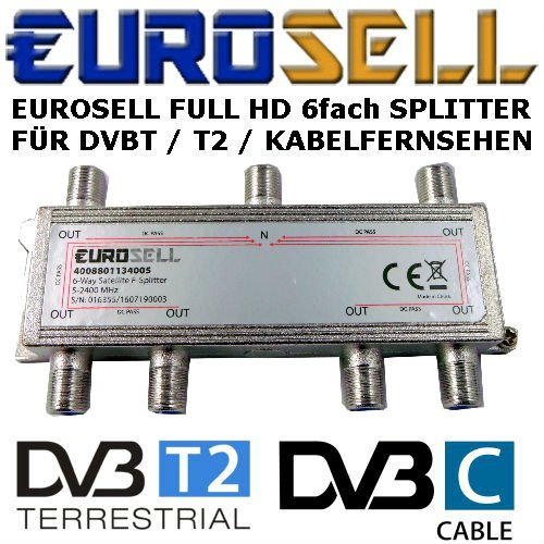 Digitaler 6-fach SAT Antennen Kabel TV BK Verteiler Splitter HDTV 6fach F Verteiler Fernsehen Fernseher Full HD Switch 6er sechser sechsfach Weiche Umschalter F-Stecker Stammleitungsverteiler Eurosell