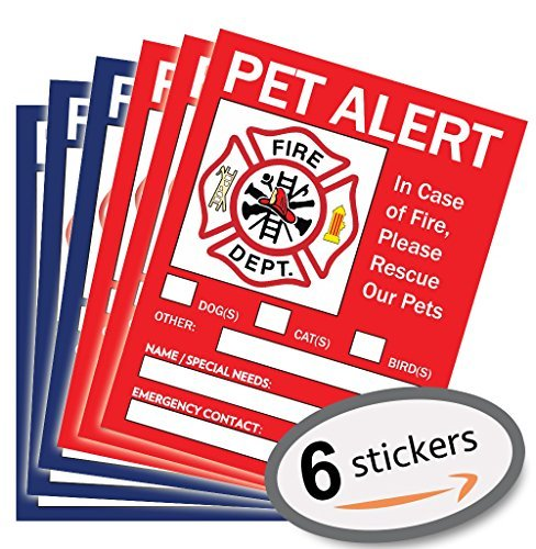 "Pet Alert Sticker – ""5 x 4"" inches – Pet Safety – Pet Alert – In Case of Fire – Pet Rescue Sticker – Pet Inside Sticker – Pet Alert Window Cling – Dog Cat Bird Rescue Sticker – Save Our Pets – 6 Pack"