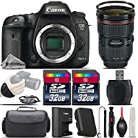 Canon EOS 7D Mark II DSLR Camera with Built-In GPS Receiver & Digital Compass + Canon EF 24-70mm f/2.8L II USM Lens + 64GB Storage + Wrist Grip Strap + Case + UV Filter - International Version