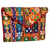 Multi-Color with Red Inner Women Banjara Evening Clutch Bag Mirror work 100% Cotton Size 9 x 6 Inches