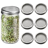 6 Pack Sprouting Lids for Wide Mouth Mason Jars Canning Jars,304 Stainless Steel Sprouting Jar Lid Kit Sprout Generator Set to Grow Your Own Organic Sprouts, 2.45Dollar/PCS (Jar not Included)