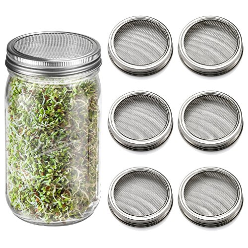 6 Pack Sprouting Lids for Wide Mouth Mason Jars Canning Jars,304 Stainless Steel Sprouting Jar Lid Kit Sprout Generator Set to Grow Your Own Organic Sprouts, 2.45Dollar/PCS (Jar not Included) by JamBer