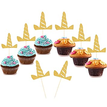 Amazon Com Set Of 24 Unicorn Cupcake Toppers Cupcake Picks