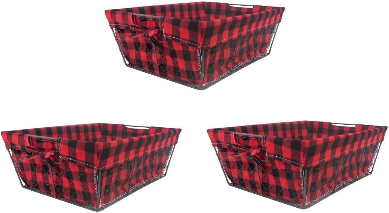 THE NIFTY NOOK I Set of 3 I Farmhouse Wire Basket Liner Set I Home and Kitchen Storage (Red & Black Check)