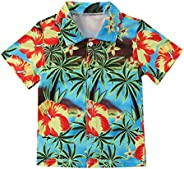 Baby Boy Kids Tropical Landscape Pattern Shirt Short Sleeve Beach Holiday Casual Blouse Tops