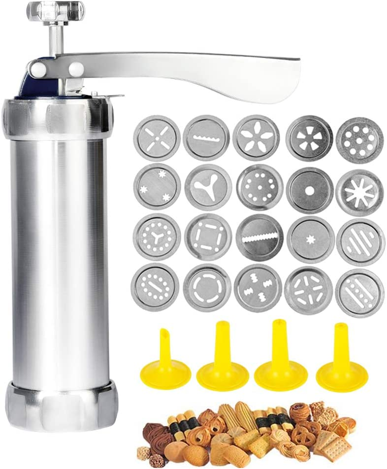 Cookie Press Gun,Stainless Steel Biscuit Press Spritz Cookie Gun Set with 20 Cookie Discs and 4 Nozzles for Holidays DIY Biscuit Maker,Churro Maker and Decoration