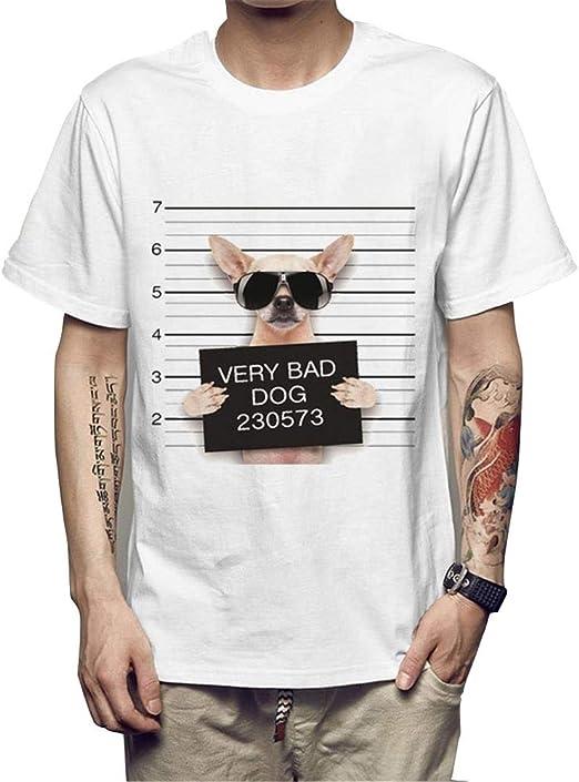 ManY Funny Camisetas Camiseta de hombre for hombre con estampado de 2019 for hombre Camiseta de etiqueta engomada de impresión de cabeza de departamento de policía MALA PERRO Camisetas blancas for hom: