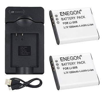 ENEGON 2 Baterías de Repuesto para Li-50B y Cargador de Micro USB para Olympus Stylus SZ-10, SZ-12, SZ-15, 1010, 1020, 1030, 9000, 9010, SP-800UZ, ...