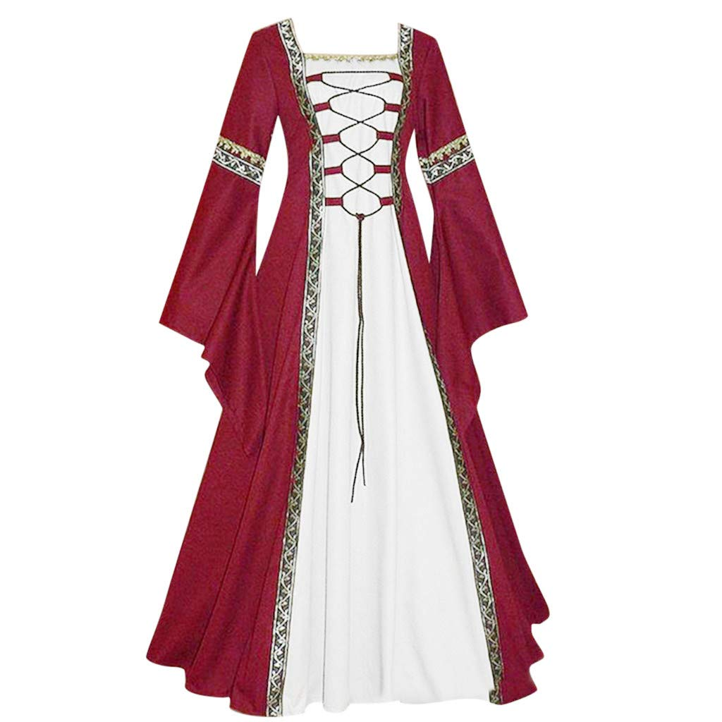 Women's Plus Size Retro Dresses Medieval Costume Lace Up Dress Renaissance Victorian Irish Cosplay Gown Long Dress S-5XL (Wine, L)