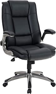 ALPHA HOME High Back Executive Chair Ergonomic Office Chair Managerial Computer Desk Chair Flip Up Armrest Big Tall Adjustable Height PU Leather Task Chair Rolling Swivel Chair with Caster Black