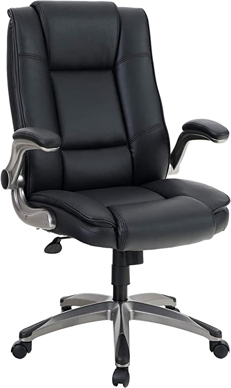 High Back Executive Office Task Computer Desk Chair Swivel Armrests PU Leather