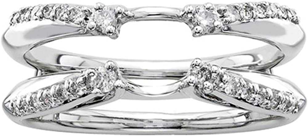 Silver Gems Factory 1/4ct Prong Set Solitaire Enhancer Cubic Zirconia Ring Guard Wrap 14k White Gold Over Alloy