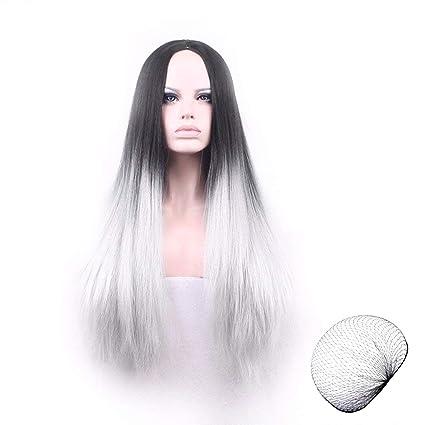 LegendTech Parrucca Halloween Donna Bianca Nera Grigia Nera Lunga Hippy Wig  Costume Makeup Accessori Gadget Props 133d9dd88568