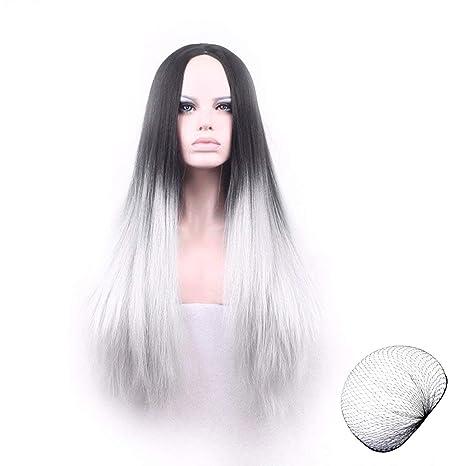 LegendTech Streich Halloween Pelucas Mujer Pelo Disfraces Disfraz Blanca Negra Larga Lisa Costumes Adornos Juego Traje