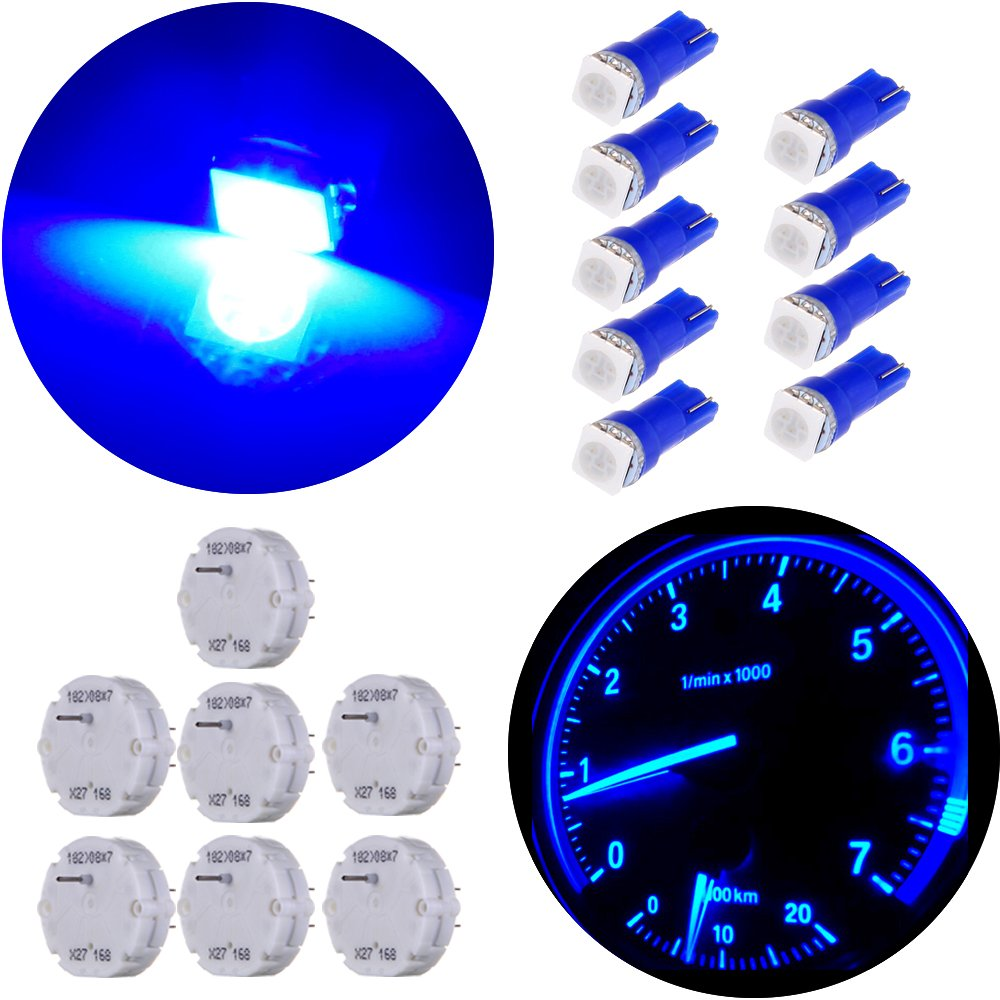 7 Motor kit + 9pcs Bulbs cciyu Stepper Motors X27.168 Instrument Repair Speedometer Gauge Cluster with Blue T5 Wedge Bulbs