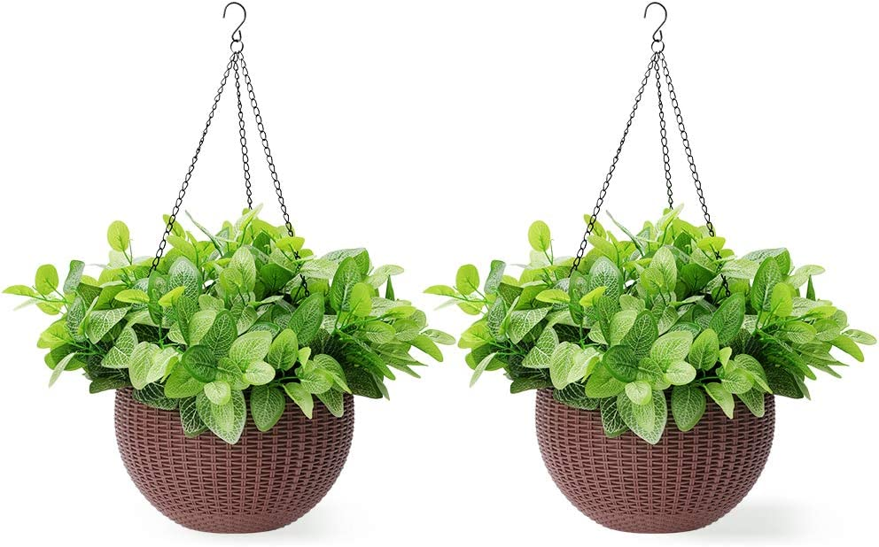 Homes Garden 10.5 in. Dia Plastic Rattan Hanging Planter Brown 2-Pack Flower Plant Hanging Basket for Home Office Garden Porch Balcony Wall Indoor Outdoor Decoration Gift G727A00