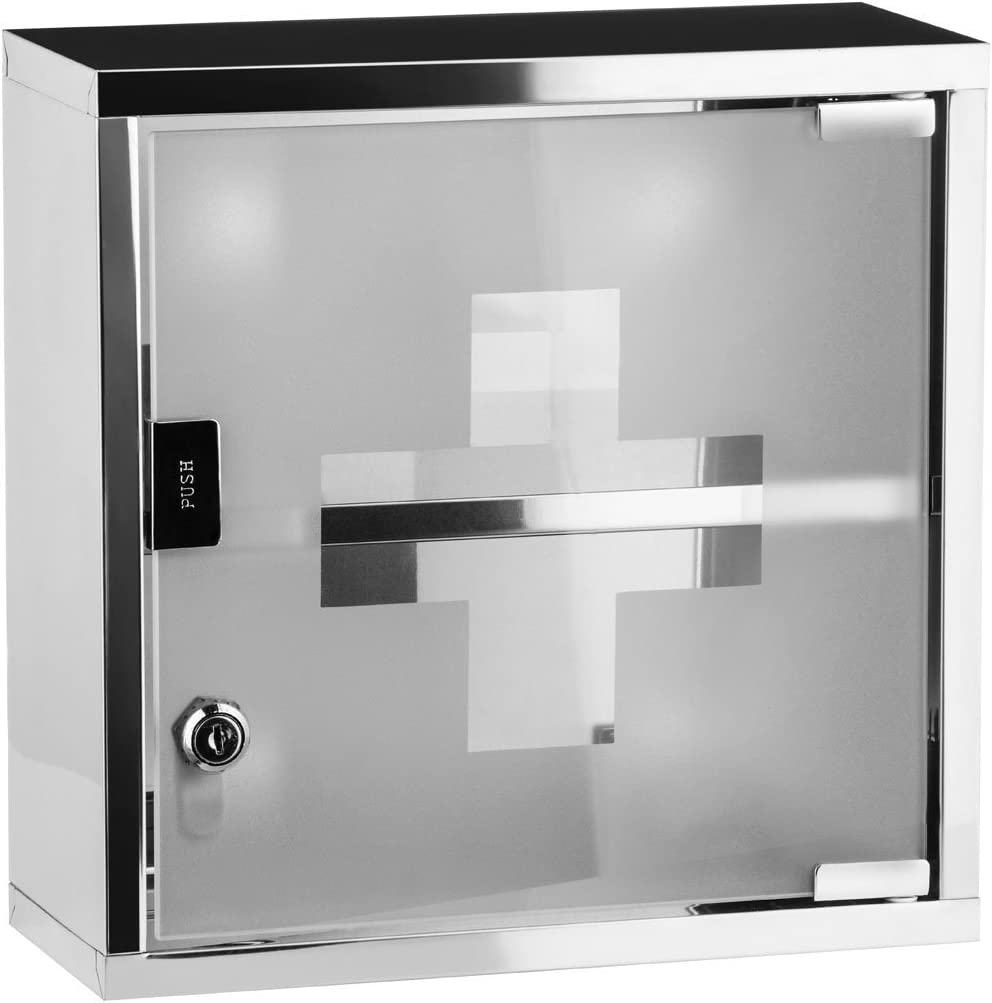 Medical Cabinet First Aid Locking Door and 2 Shelves for Medicine Bandages, Made of Stainless Steel frosted Glass. Wall Mount Storage Container 12 x 5 x 5 inch.