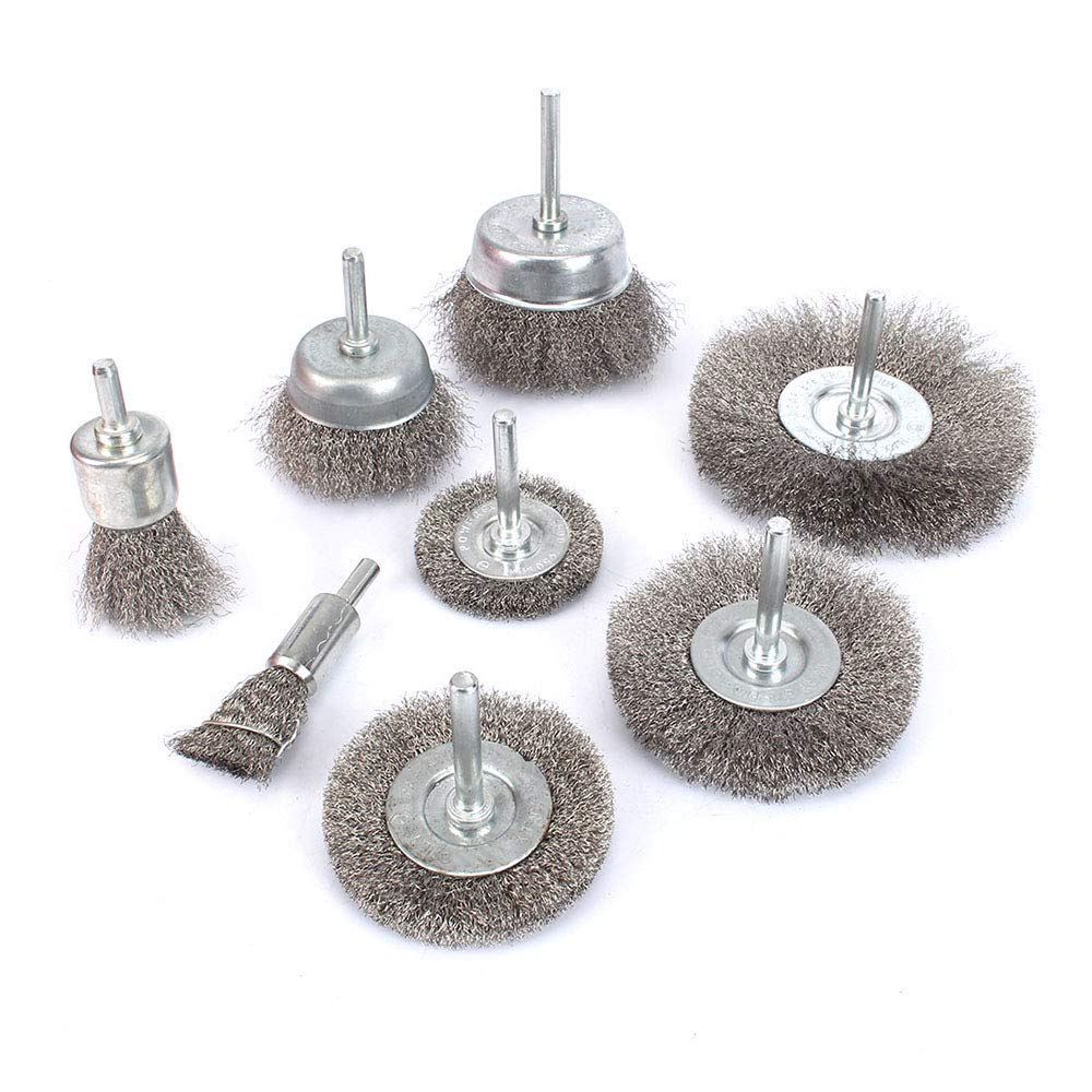 8Pcs Stainless Steel Wire Brushes Wheel kit for Drill with 1/4''shank 0.13mm by KUOFU