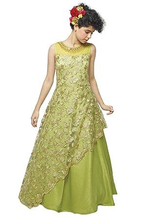f09c7d2e65d28 White Button Girl's Parrot Satin N Viscose Embroidery Net Kids Gown Dress  (2-3