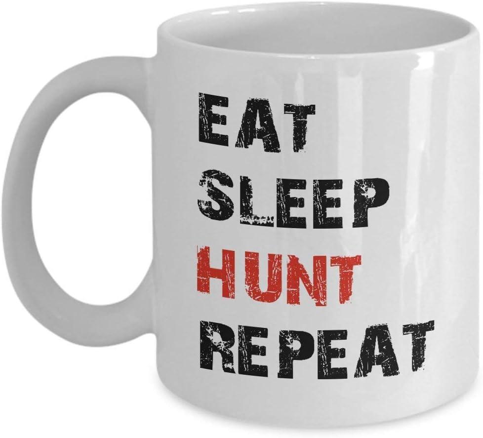 15399 Taza de café (blanca) Regalos de 11 oz Caza Papá, hombres comen dormir Caza Repite Cool Hunting Boys, papá de hijo, él, esposo, niños, hombres menores de 20 años, novio Día del padre