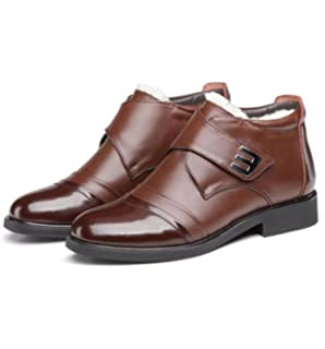 GRRONG Hiver Haute Plus Cachemire Hommes Hiver Coton Casual Business Casual Chaussures,Brown-38