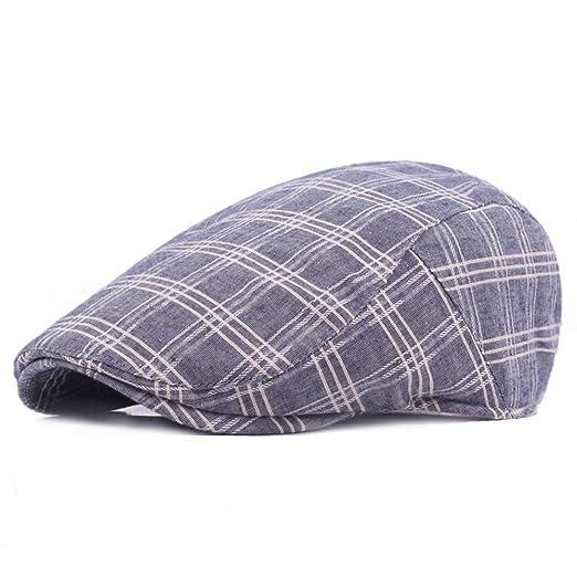da790fd4c25 AET Cap Men Retro Vintage Cotton Plaid Beret Newsboy Cap Hat at Amazon  Men s Clothing store