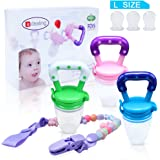 3PCS Baby Food Feeder/Fruit Pacifier Edealing BPA Free & 100% Silicone Nipple Fresh Food Milk Nibbler Feeder Feeding Tool Safe Baby Supplies Toy | Includes 3pcs L Size Silicone Sacs + A Pacifier Chain