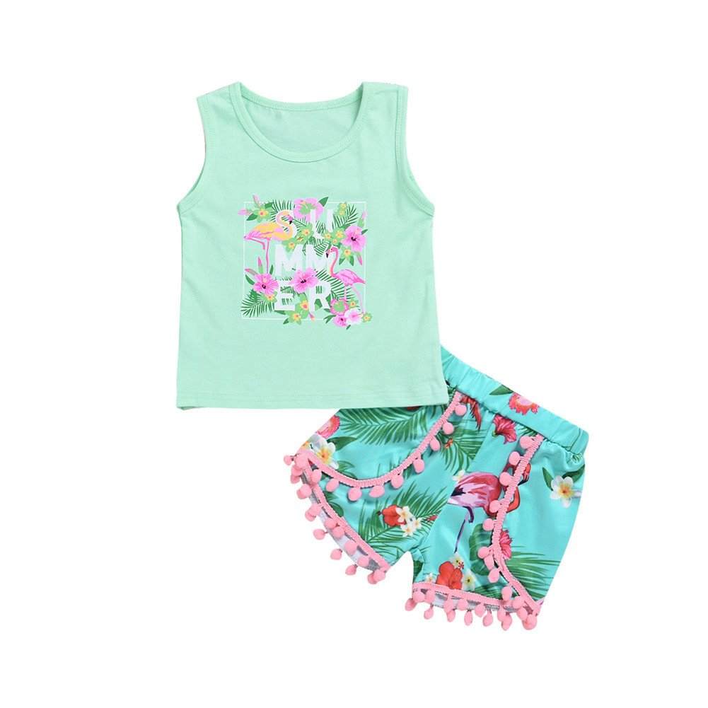 Mikrdoo Toddler Girl Summer Clothes Vest Tops Tassels Shorts 2pcs Baby Girl Outfit Suit (3-4 Years, G)