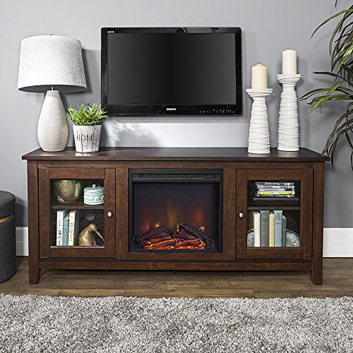 Traditional Wide Tv Stand - New 58 Inch Wide Television Stand with Fireplace in Traditional Brown Finish