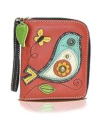 Chala PAL cierre de cremallera Around Wallet–Wristlet, 8ranuras de tarjeta de crédito, moneda de bolsillo con cierre, Pájaro rojo, Small