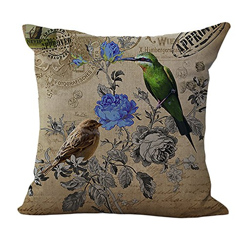 ChezMax Cotton Linen Cushion Cover Birds on Flowers Pattern Square Decor Pillow Sham Decorative Throw Pillow Case 18