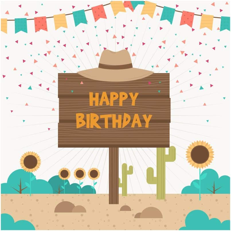 YEELE Western Theme Backdrop 10x10ft Cowboy Birthday Party Photography Background Desert Cactus Party Table Decor Baby Children Portrait Photobooth Props Digital Wallpaper