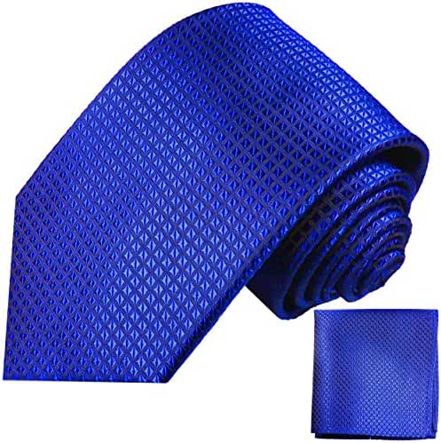 Royal Blue Silk Tie and Pocket Square . Paul Malone Red Line
