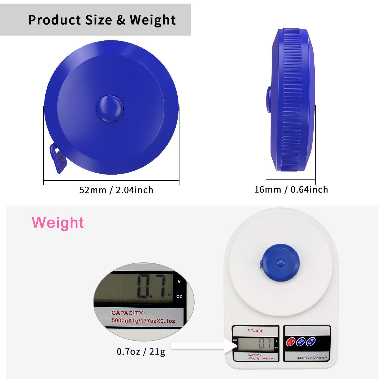 DiCUNO 1.5m 60 pouces ruban /à mesurer rond ruban /à mesurer r/étractable ruban /à mesurer /à ruban doux 3 paquet