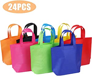 """24 Pack 13"""" Tote Gift Bags One Side Blank Non-woven Bags Colored Treat Bags"""