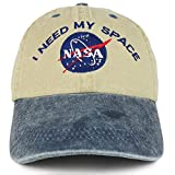 Youth NASA I Need My Space Embroidered Soft Washed Cotton Twill Cap - KHAKI NAVY