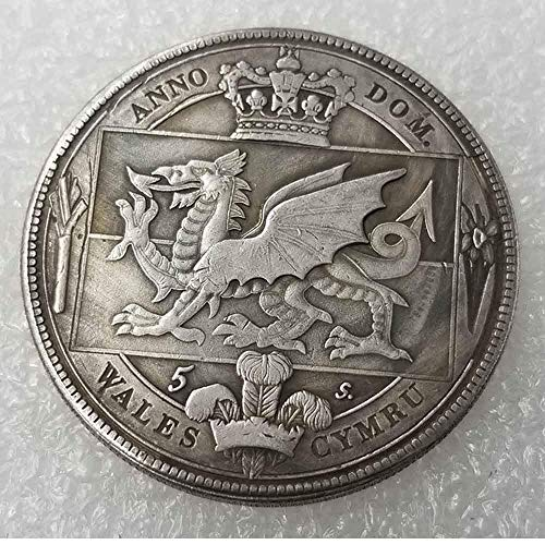(MarshLing 1887 British Welsh Crown Old Coin-Uncirculated Great British Coins-United Kingdom Old Coins-Lucky Commemorative Coin-Discover History of Coins Perfect Quality)