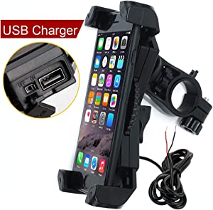 Motorcycle Phone Mount with Charger 5V 2.4A USB Port Install on Handlebar Mirror Bar. Leepiya Cell Phone Holder Suit for iPhone XR Xs Max Xs X 8 7 6 Plus. Galaxy S9 S8 Plus and All 3.5 to 6.5 inches