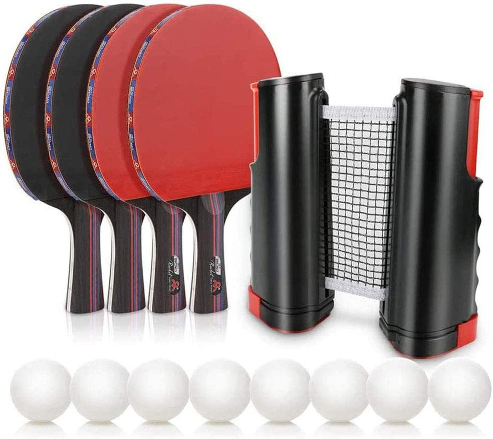 HJX888 Conjunto de Pingpong Set,Juego de Ping Pong con 4 Raquetas + 8 Bolas Pelotas Tenis de Mesa + 1 Red Retráctil + 1 Bolsa,para Interior al Al Aire Libre