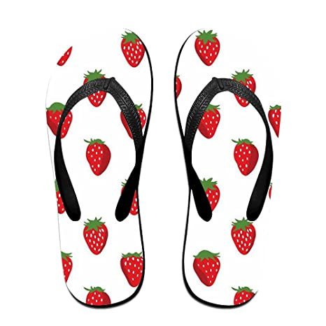 5142db1e7 Couple Slipper Strawberry Repeat Print Flip Flops Unisex Chic Sandals Rubber  Non-Slip Spa Thong