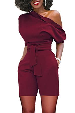 e711efdc4ee Women s Sexy One Shoulder Solid Jumpsuits Wide Leg Short Romper Pants with  Belt Wine Red S