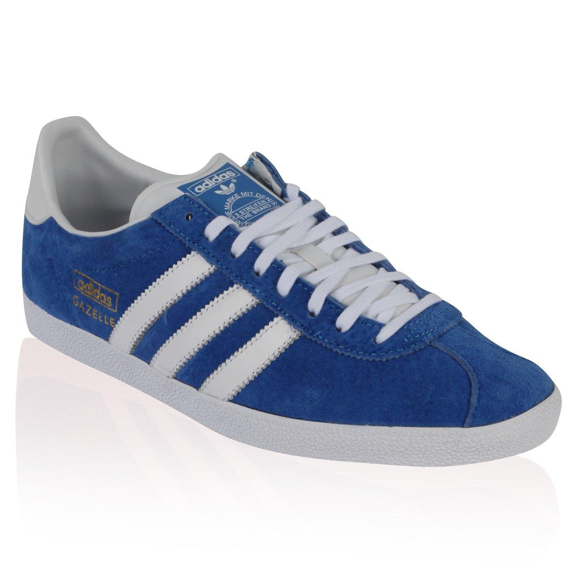 new arrival 8e51b 71dbf adidas Mens Blue Suede Gazelle Originals Retro Lace Up Trainers Shoes Size  11 Amazon.co.uk Shoes  Bags