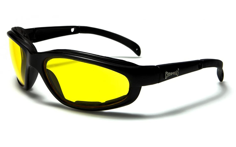 CHOPPERS PADDED MOTO LUNETTES lunettes jaunes