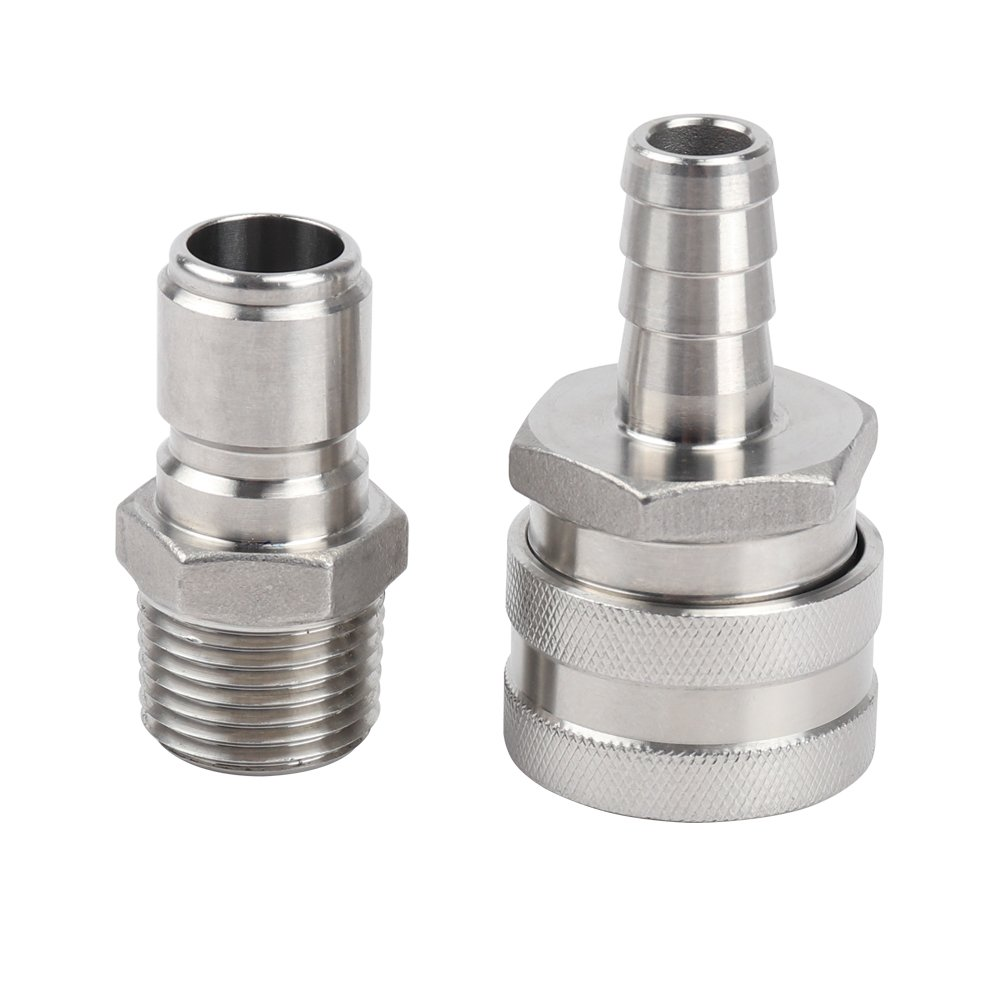MRbrew Quick Disconnect 304 Stainless Steel Set 1/2'' MPT Male 1/2'' Female Barb (1/2'' MPT Male,1/2'' Female Barb)