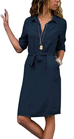 32e36871376d6 Yidarton Femme Chemise Robe Elegante Midi Robe de Mousseline Casual Col V  Bouton Up Chemisier Longue