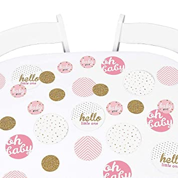 Hello Little One 27 Count Pink and Gold Girl Baby Shower Party Table Confetti Set